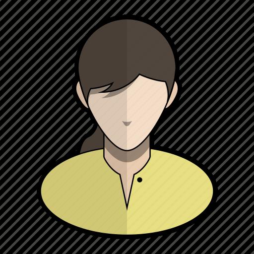 avatar, braid, girl, hair, profile, user, yellow icon