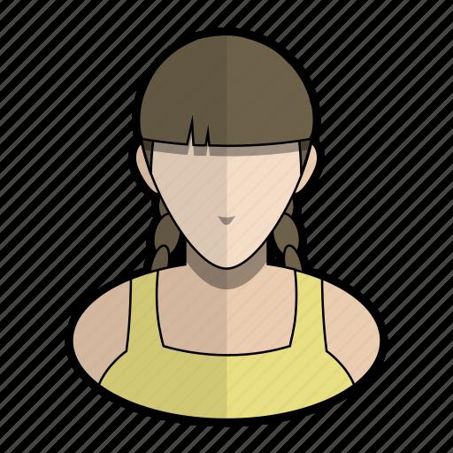 avatar, blouse, braid, girl, hair, profile, user icon
