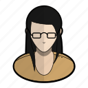 avatar, girl, glasses, orange, profile, user, woman icon