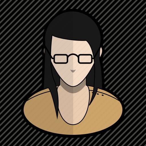 avatar, girl, glasses, orange, profile, user, woman icon