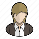 avatar, indiana, jacket, jones, profile, user, woman icon