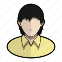 avatar, hair, long, messy, profile, shirt, user icon