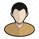 avatar, man, profile, shirt, short, user, vneck icon