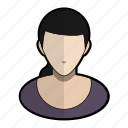 avatar, clothes, profile, purple, user, woman icon