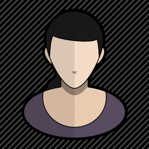 avatar, clothes, profile, purple, user, woman icon