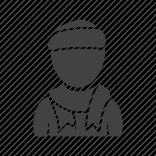 boy, cap, in, scarf icon