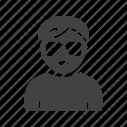 boy, glasses, in, nerdy icon