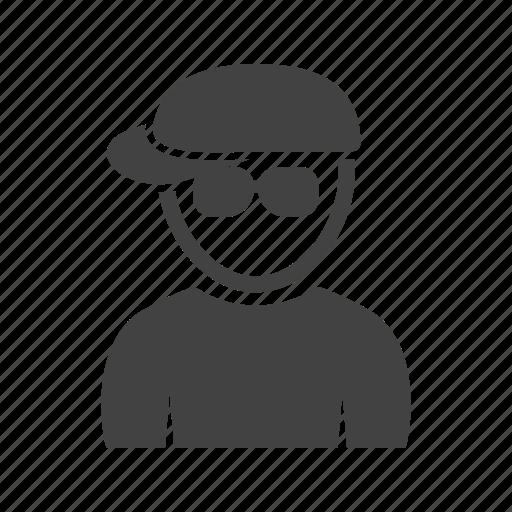 boy, hat, in, nerdy icon