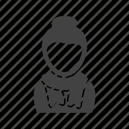 girl, in, muffler, scarf icon