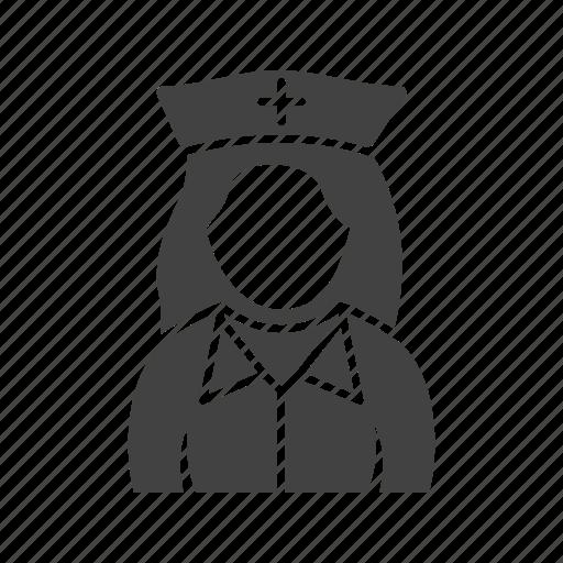 girl, in, nurse, uniform icon