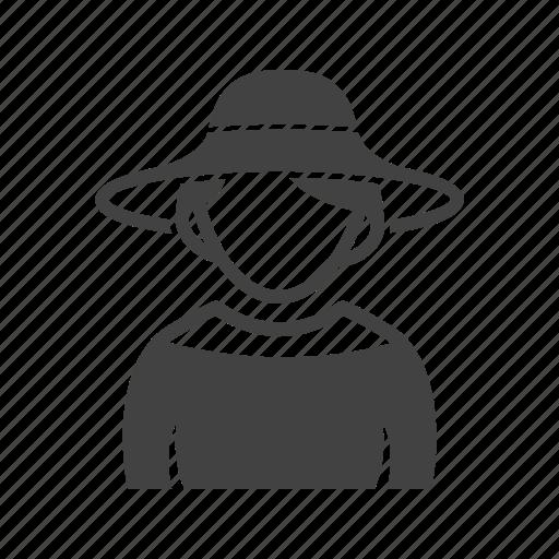 elegant, girl, hat, in icon