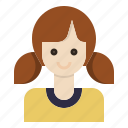 avatar, girl, hair, pony, tail icon