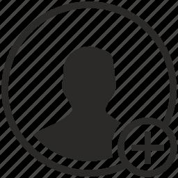 add, avatar, create, data, person, web icon