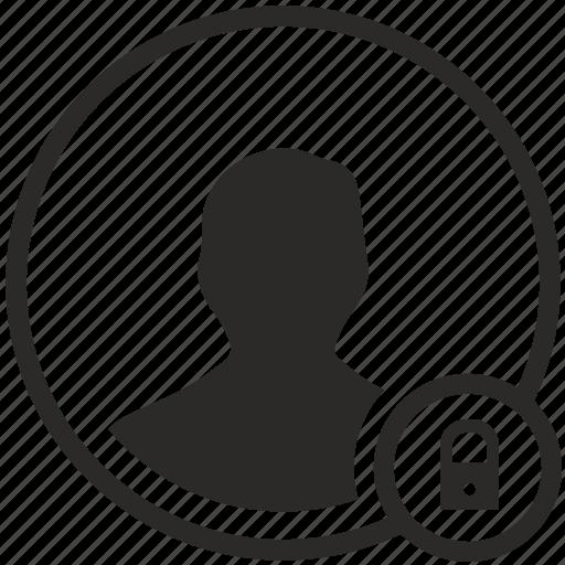 avatar, closed, data, locked, person icon