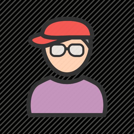 boy, fashion, happy, hat, nerd, style icon