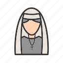 dress, lady, nun, peace, religious, uniform icon