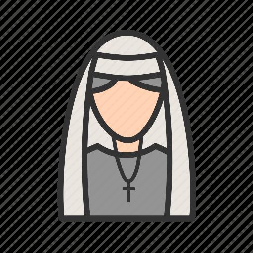 dress, lady, nun, peace, religious, uniform icon