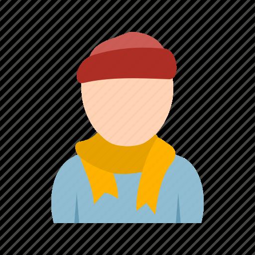 boy, in, muffler, scarf icon