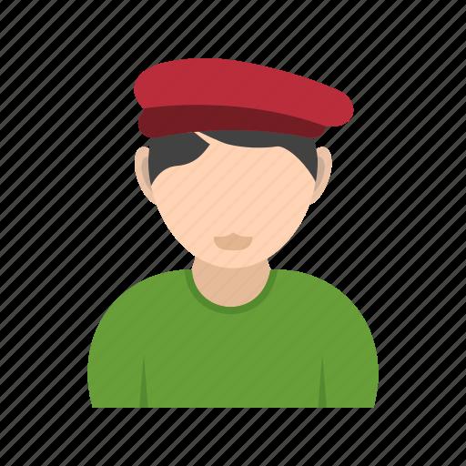 artist, boy, hat, in icon