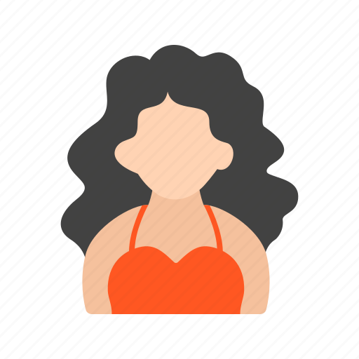 hair, lady, wavy, with icon