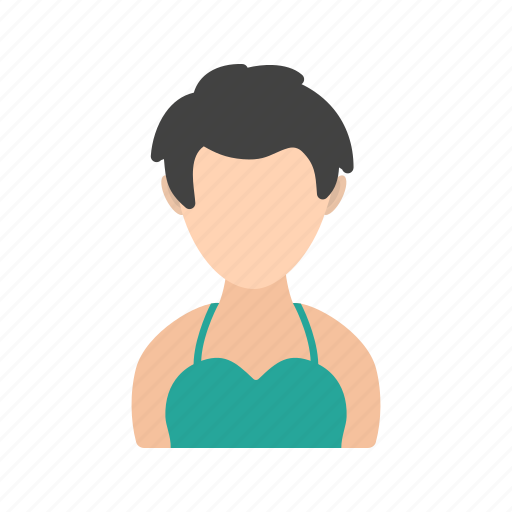 girl, hair, short, with icon