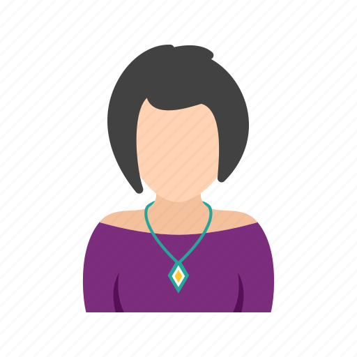 hair, lady, necklace, short, wearing icon