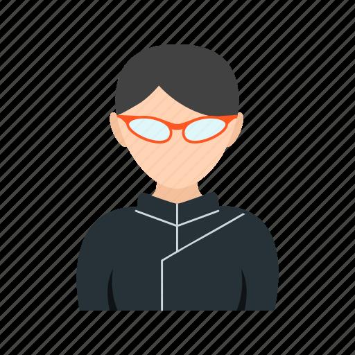 girl, glasses, ninja, with icon