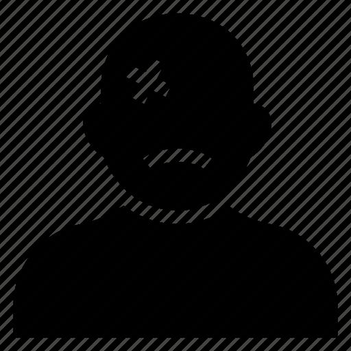 avatar, boy, injured, male, man, person, user icon
