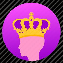 avatar, crown, head, imperior, man icon