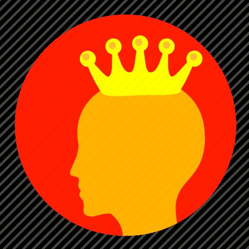 avatar, crown, gold, king, man icon