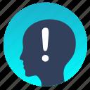attention, avatar, head, man, warning