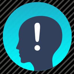 attention, avatar, head, man, warning icon