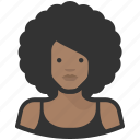 afro, avatar, avatars, female, woman icon