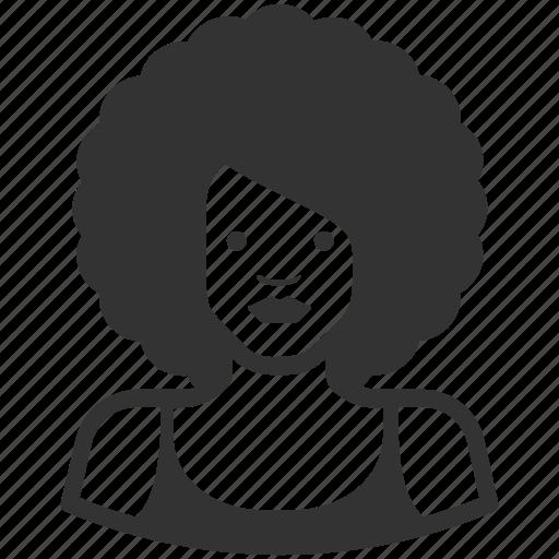 afro, avatar, avatars, female, woman icon