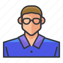 avatar, glasses, man, nerd, profile, user icon