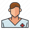 avatar, man, medical, nurse, profile, user icon