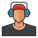 avatar, headphones, headset, man, music, profile, user icon