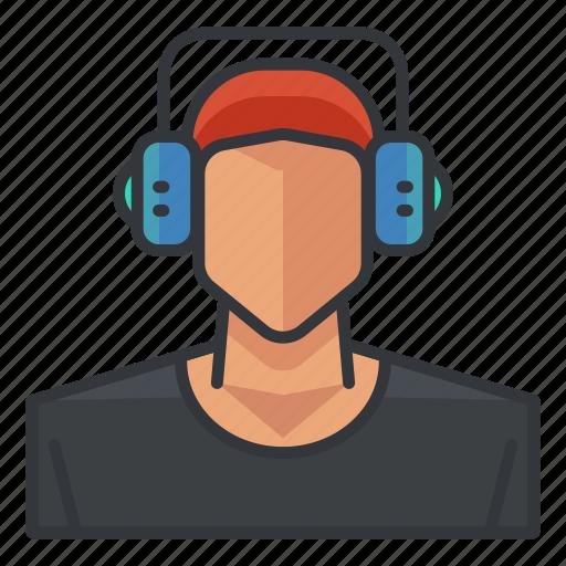 avatar, headphones, headset, man, music, profile, user icon