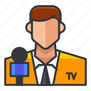 avatar, man, microphone, news, profile, user icon