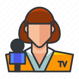 avatar, microphone, news, profile, user, woman icon