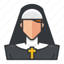 avatar, nun, profile, religion, religious, user, woman icon