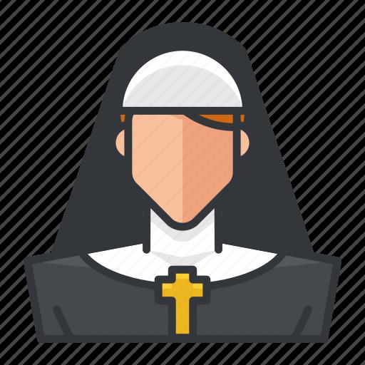 avatar, nun, profile, religion, religious, user, woman icon