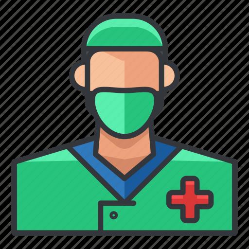 avatar, man, medical, nurse, profile, user icon