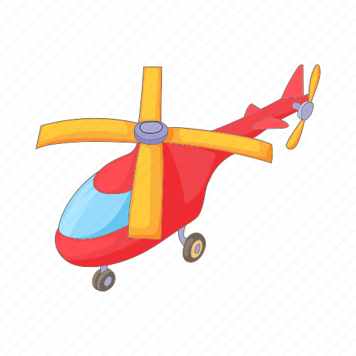 aircraft, aviation, cartoon, flight, helicopter, red, transport icon