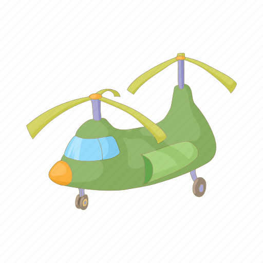 aircraft, aviation, cargo, cartoon, green, helicopter, transport icon