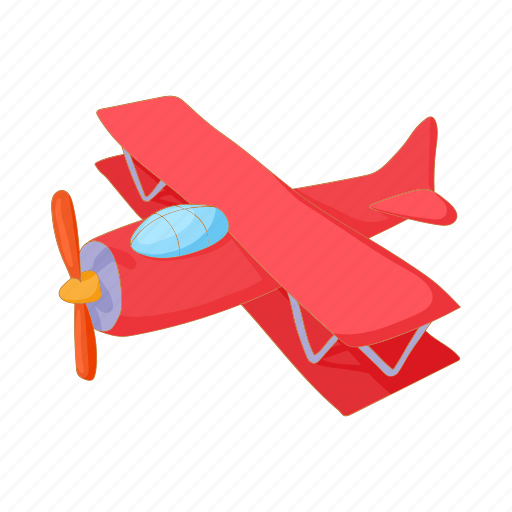 aircraft, aviation, biplane, cartoon, old, plane, propeller icon
