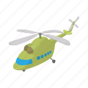 air, aircraft, aviation, cartoon, green, helicopter, transport icon