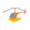aircraft, cartoon, flight, helicopter, orange, snow, water icon