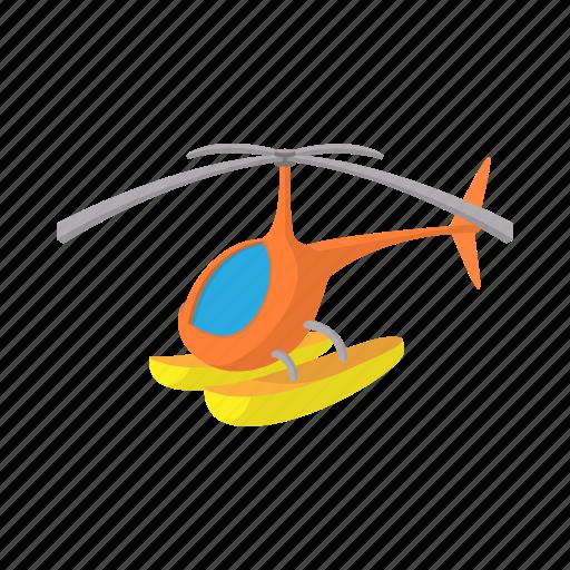 aircraft, cartoon, flight, helicopter, orange, snow, water icon