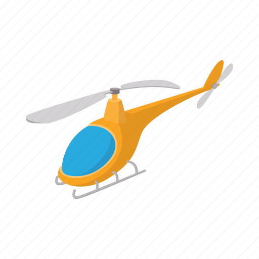 aircraft, aviation, cartoon, flight, helicopter, orange, transport icon